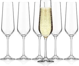 SAHM Verre Champagne   Flute Champagne   Lot de 6   Verre a Champagne 200ml   Coupe Champagne Cristal   Lavable au Lave-Va...