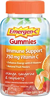Emergen-C 750mg Vitamin C Gummies for Adults, Immunity Gummies with B Vitamins, Gluten Free, Orange, Tangerine and Raspber...