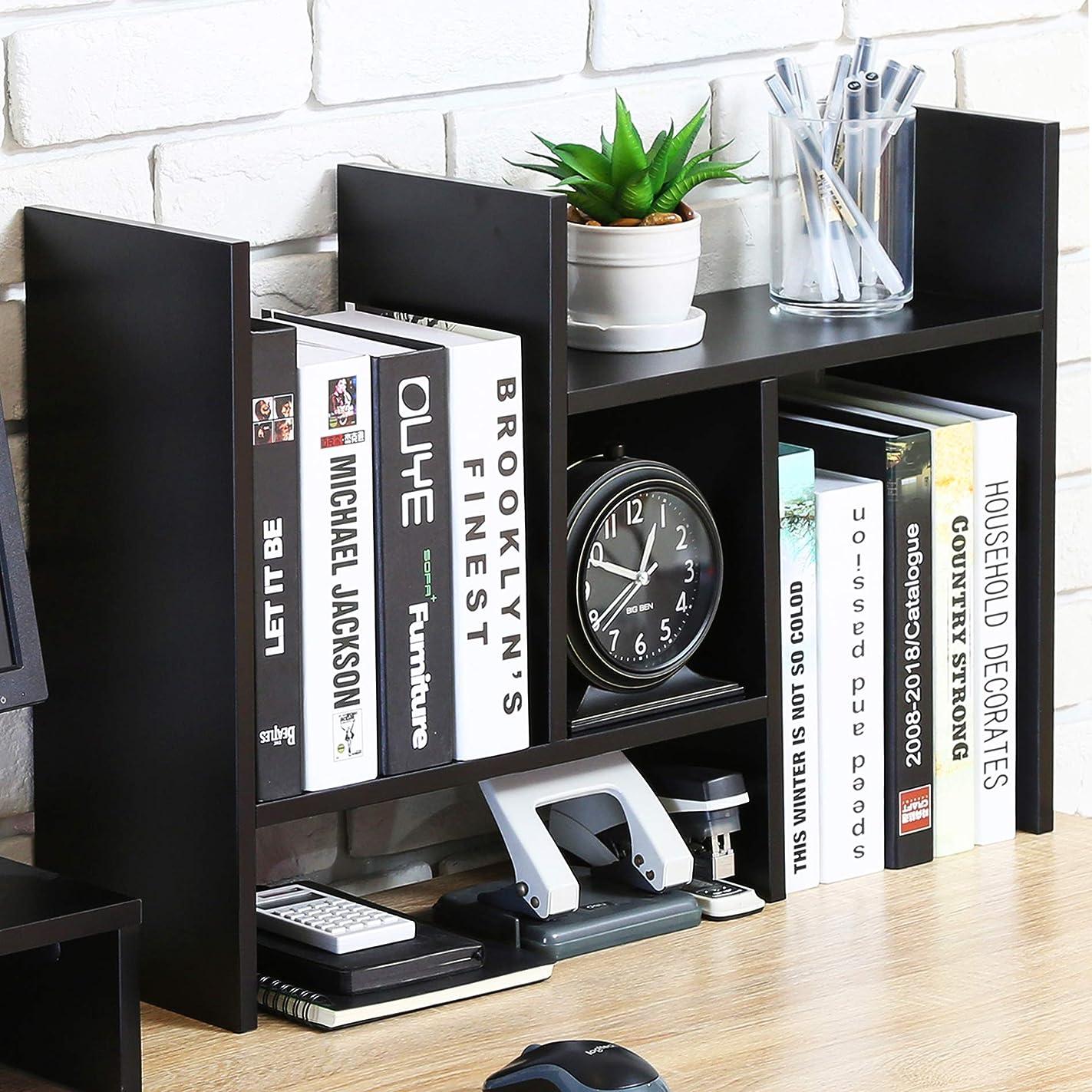 帳面ラッカス退屈FITUEYES デスクオーガナイザー オフィス収納ラック 飾り棚 調整可能 木製 DT207201WB