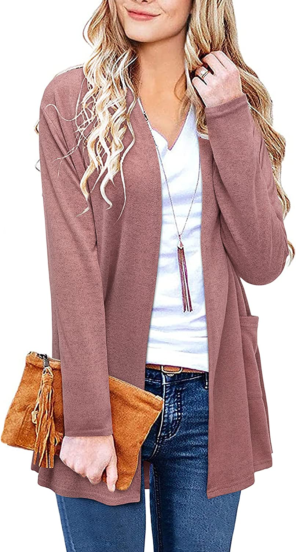 ULTRANICE Women's Long Sleeve Open Casual wi Cardigan Tops Boston Mall It is very popular Front