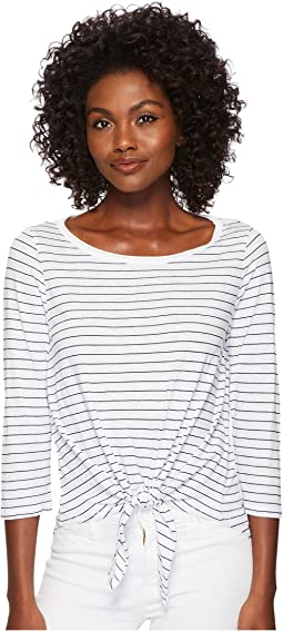 Three Dots - Big Sur Stripe Tie Front Tee