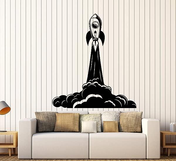 Vinyl Wall Decal Cartoon Rocket Space Astronaut Children S Room Stickers Large Decor 2599ig Black