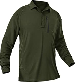TBMPOY Men's Lightweight Hiking Military Tactical Polo Shirt Quick Dry Outdoor Fishing Collared Shirt with Zip