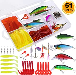 TOPFORT Fishing Lures, Fishing Spoon,Trout Lures, Bass Lures, Spinning Lures,Hard Metal Spinner Baits kit with Carry Bag (51Pcs Fishing Lures Kit)