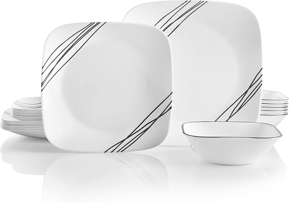 Corelle 18 Piece Service For 6 Chip Resistant Simple Sketch Dinnerware Set