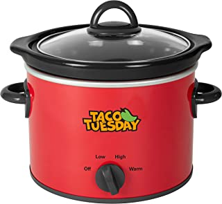 Nostalgia Taco Tuesday 2-Quart Fiesta Slow Cooker With Tempered Glass Lid, Cool-Touch Handles, Removable Round Ceramic Pot...