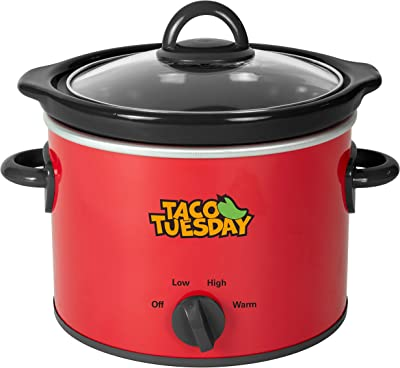 Taco Tuesday 2-Quart Fiesta Slow Cooker With Tempered Glass Lid, Cool-Touch Handles, Removable Round Ceramic Pot, Red