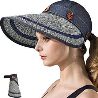 Womens UV Protection Hats Sun Visor for Girls Foldable Large Brim UPF Beach Ponytail Fishing Cap