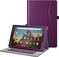 Fintie Case for All-New Amazon Fire HD 10 Tablet (Compatible with 7th and 9th Generations, 2017 and 2019 Releases) - [Multi-Angle Viewing] Folio Stand Cover with Pocket Auto Wake/Sleep, Purple