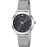 GUESS Women's Stainless Steel Mesh Bracelet Watch with Black Genuine Diamond Dial. Color Silver-Tone (Model: U1197L1)