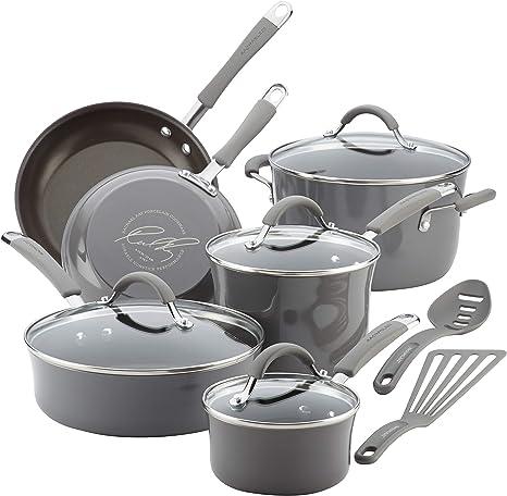 Rachael Ray Cucina Nonstick Cookware Pots and Pans Set, 12 Piece, Sea Salt Gray
