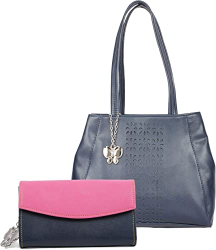 Women Hand Bag With Wallet Combo Navy Blue Pink BNS WB0721 Set of 2