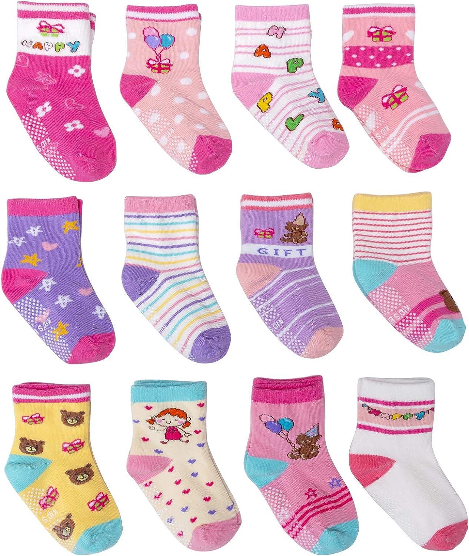 Baby Non Skid Toddler Socks with Grips Crew Ankle Socks for Infant Kids Boys Girls 12 Pairs