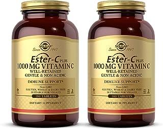 Solgar Ester-C Plus 1000 mg Vitamin C (Ascorbate Complex), 180 Tablets - 2 Pack - Gentle & Non Acidic - Antioxidant & Immu...