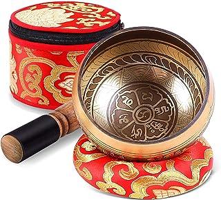 Tibetische Klangschale Set, Ohuhu 10cm Meditations Klangschale mit Klangschalenschlägel,..