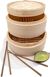 Premium 10 Inch Handmade Bamboo Steamer - Two Tier Baskets - Dim Sum Dumpling & Bao Bun Chinese Food Steamers - Steam Baskets For Rice, Vegetables, Meat & Fish Included 2 Sets Chopsticks, 20 Liners & Sauce Dish