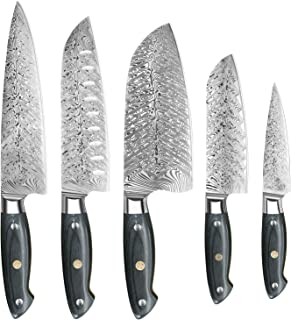 DFITO Kitchen Knife Set with Rivet Wood Handle, Ultra Sharp Stainless Steel Full Tang Chef Knife Set Professional Japanese...