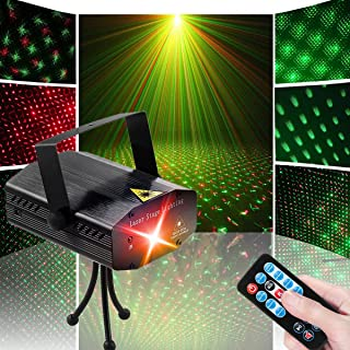 LED Disco DJ Party Laser Lights, Sibaok Mini Auto Flash 7 RG Color Stage Strobe Lights Sound Activated for Parties Room Show Birthday Party Wedding Dance Lighting with Remote Control, Black