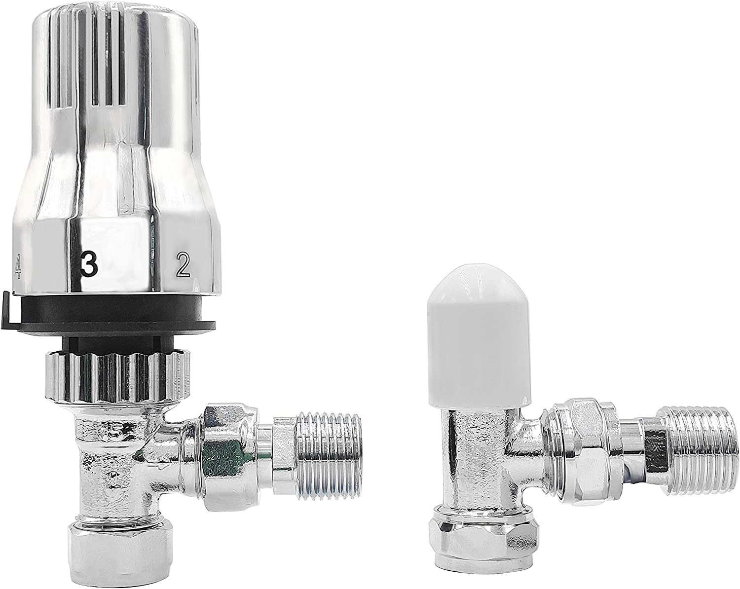 NRG 15mm Angled Thermostatic Radiator Valve and Manual Angled Valves Anthracite