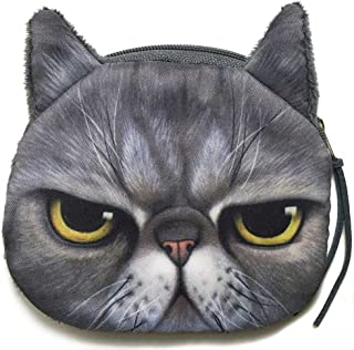 Grumpy Cat Face Mini Coin Wallet | Angry Kitty Head Zipper Closure Purse
