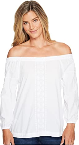 Cotton Poplin Off the Shoulder Long Sleeve Top