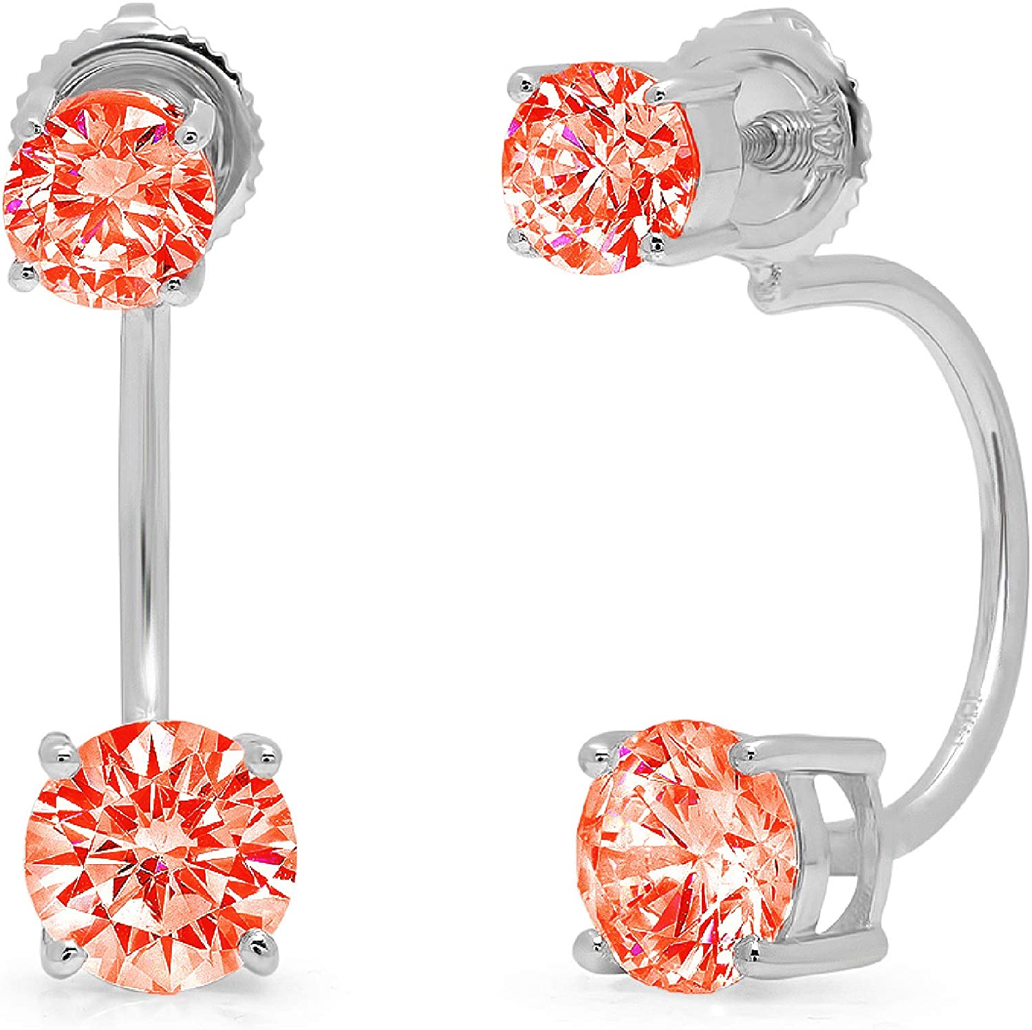 3.1CT Dual Double Drop 2 stone Round Cut ideal VVS1 Conflict Free Gemstone Solitaire Genuine Red CZ Designer Lever back Drop Dangle Earrings Solid 14k White Gold