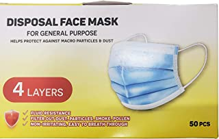 Phamatech 4-Ply Disposable Face Mask - Protective Safety Masks (50 Count)