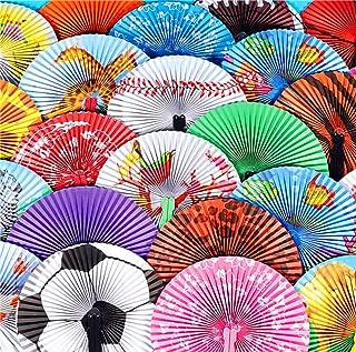 Folding Handheld Fans Assortment For Kids, Bulk Pack of 48 Colorful Paper Fan Party Favors 10