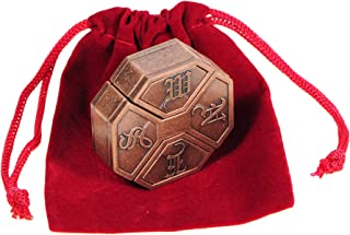 Hanayama News Cast Metal Brain Teaser Puzzle with Red Velveteen Pouch Bundled Items