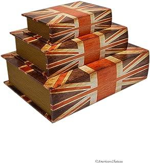 American Chateau Set 3 Nesting Wooden Wood Book Stacking Union Jack British Flag Decorative Box