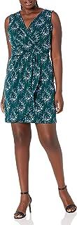 Lark & Ro Amazon Brand Women's Sleeveless V-Neck Gathered Faux Wrap Dress