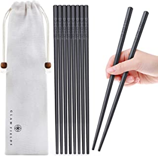 5 Pairs Fiberglass Chopsticks, GLAMFIELDS Reusable Japanese Chinese Korean Chop sticks Dishwasher Safe, Non-slip, 9 1/2 inches - Black with Multi-purpose Cotton Drawstring Bag Carrying Case