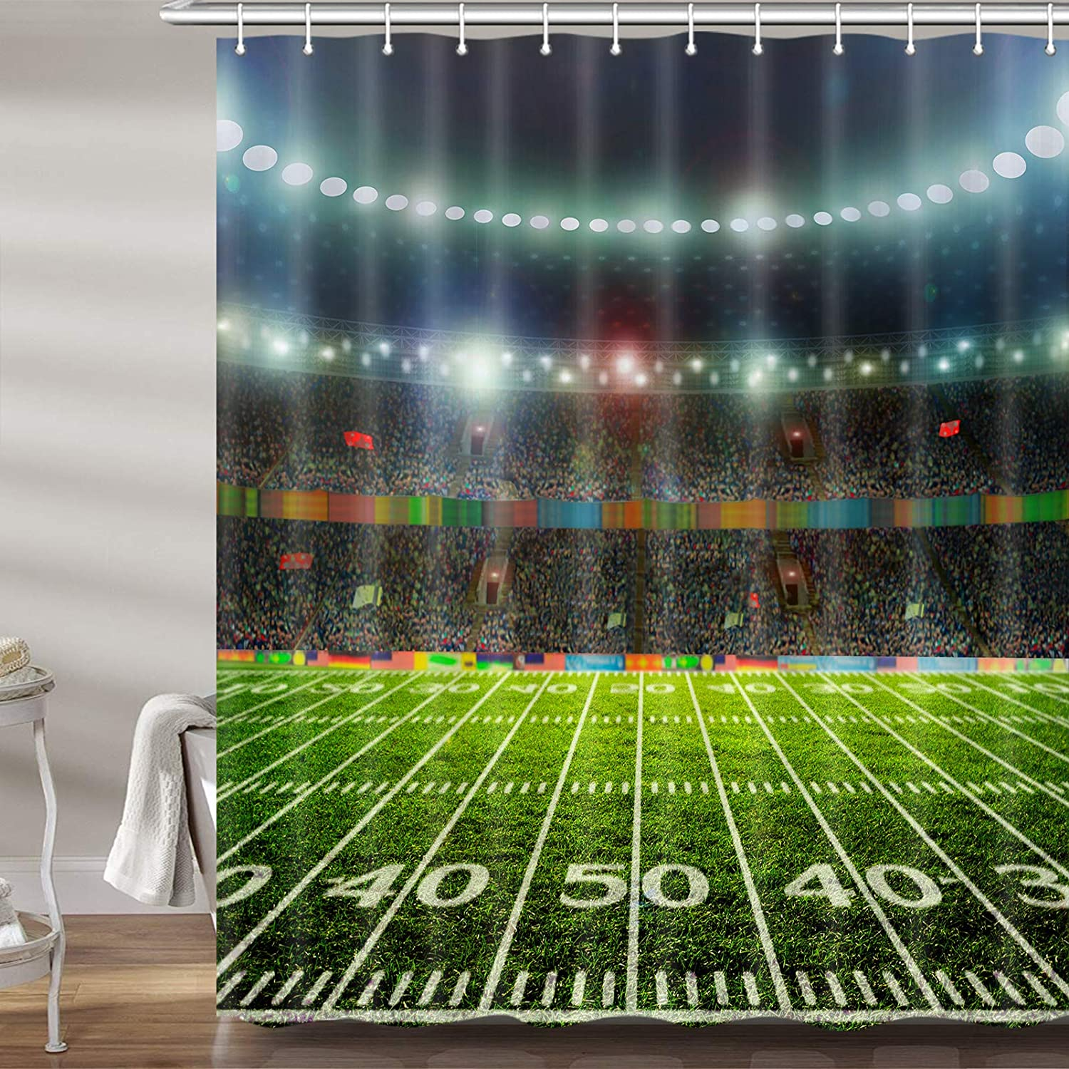 Football Field Shower Curtains New Orleans Mall for Bathroom Theme Bath Sports C Free shipping on posting reviews