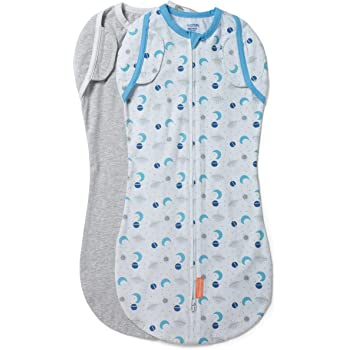 3-6 Months SwaddleMe Arms Free Convertible Swaddle 1 Pack Large Chambray Stripe
