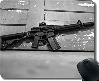 Gaming Mouse Pad Custom,Gun assault rifle Mouse Pad with Stitched Edge