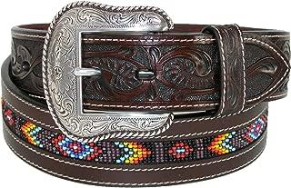 Men's Hand-Tooled Beaded Silver Buckle Belt - 8593500-200