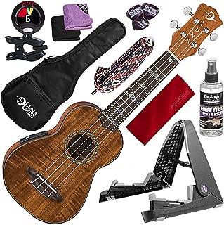 Luna Uke High Tide Soprano A/E Ukulele, Koa with Guitar Stand & Elastic Heavy Capo Deluxe Accessory Bundle