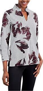 ALFANI Womens White Ruched Printed Long Sleeve V Neck Wear To Work Top AU Size:14