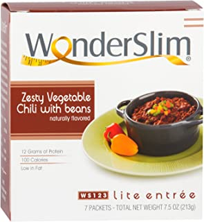 WonderSlim Low-Carb High Protein Vegetarian Zesty Vegetable Chili w/Beans Mix (7 Servings/Box) - Low Carb, Low Fat, Kosher, Cholesterol Free