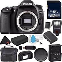 Canon EOS 80D DSLR Camera (Body Only) 1263C004 (International Version) + 64GB Memory Card + LP-E17 Replacement Lithium Ion Battery + Carrying Case Bundle