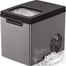 Vremi Countertop Ice Maker - Ice Cubes Ready in 9 Minutes - Makes 26 Pounds Ice in 24 hrs - Perfect for Water Bottles, Mixed Drinks - Portable Stainless Steel Ice Maker with Ice Scoop and Basket