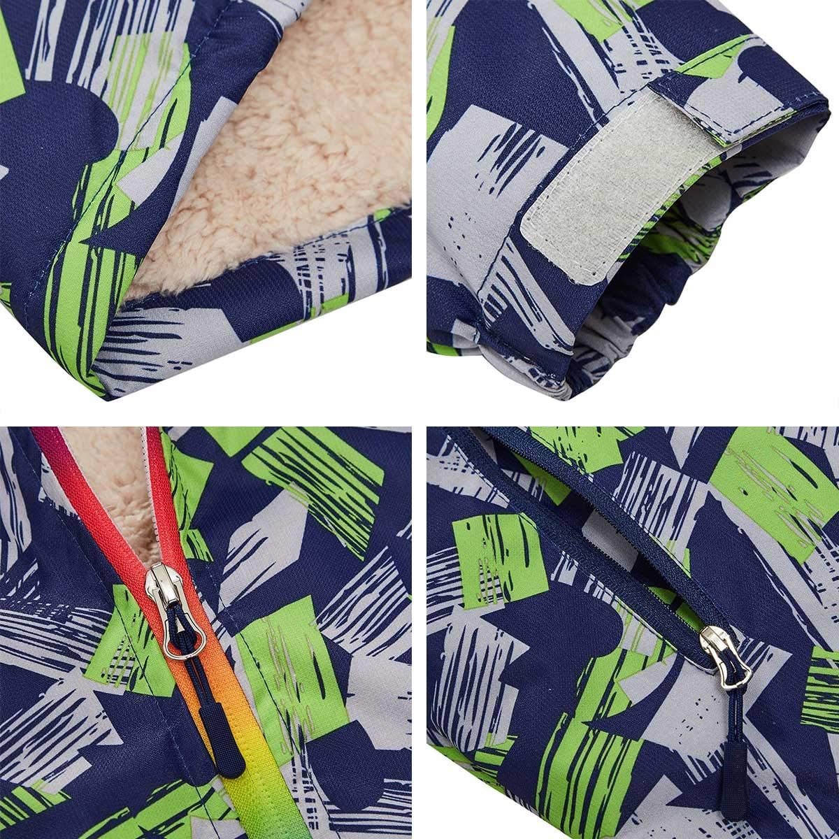 HuTuHu Kid Boys Fleece Windbreaker Color Block Overcoat Hooded Jacket for 4-10Y