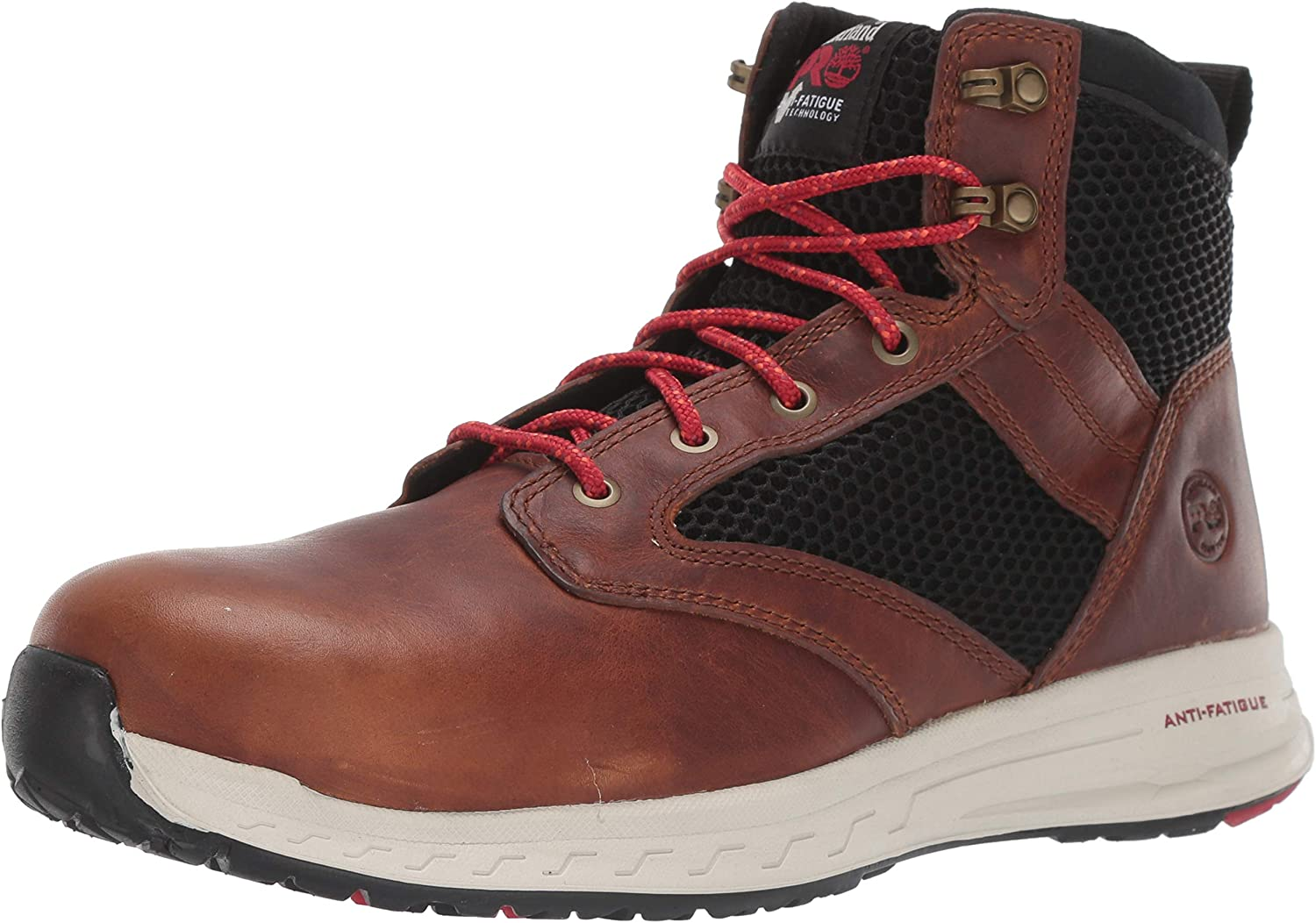 Timberland PRO Men's Drivetrain Mid Composite Safety Toe Electrical Hazard Athletic Leather Work Boot, Brown, 9