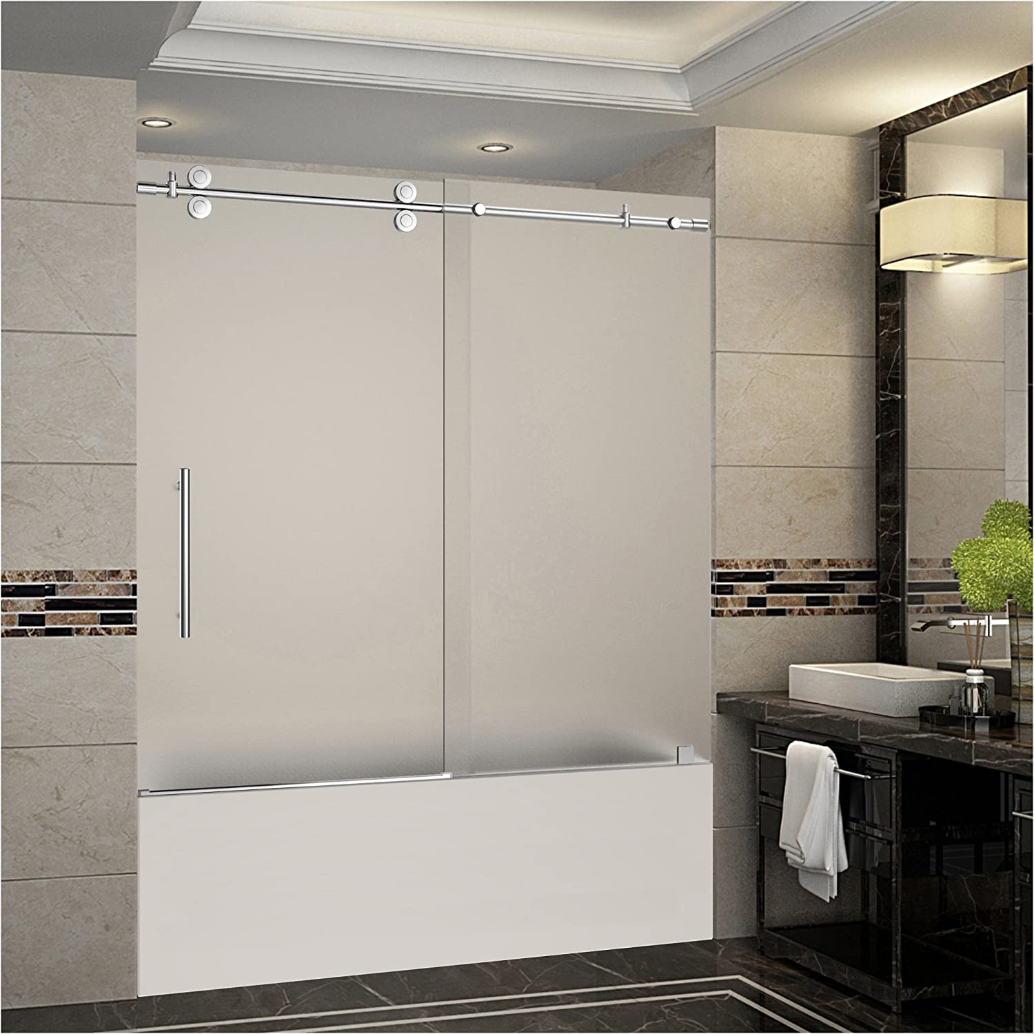Aston Langham 56 To 60 X 60 Completely Frameless Tub Height Sliding Shower Door In Frosted Glass Chrome Amazon Com