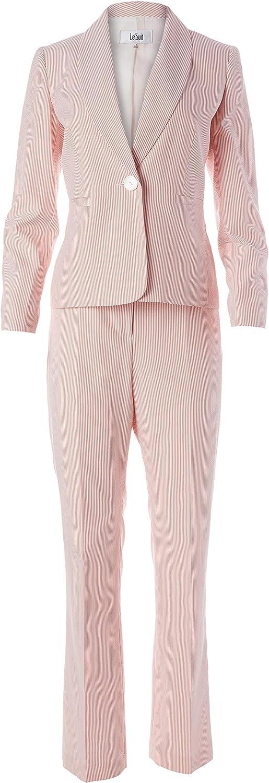 Le Suit Women's Plus Size 1 Button Jacket Stripe Seersucker Pant Suit