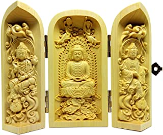 三開仏 木彫仏像 彫刻 ツゲ 柘植 高さ10cm (阿弥陀三尊 座像【阿弥陀如来 · 観音菩薩 · 勢至菩薩】)