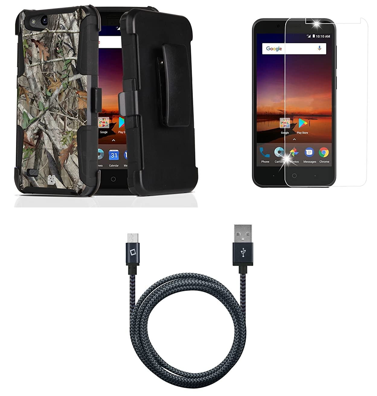 ZTE ZFive C LTE Z558VL - Bundle: Dual Layer Rugged Kickstand Belt Holster Case (Camo), Tempered Glass Screen Protector, Heavy Duty Braided Micro USB Sync Charging Cable (5 Feet), Atom Cloth