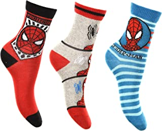 Aelstores 3 Pairs Boys Girls Kids Paw Patrol Spiderman Socks Size UK 6-2 EU 23-34 US 7-3