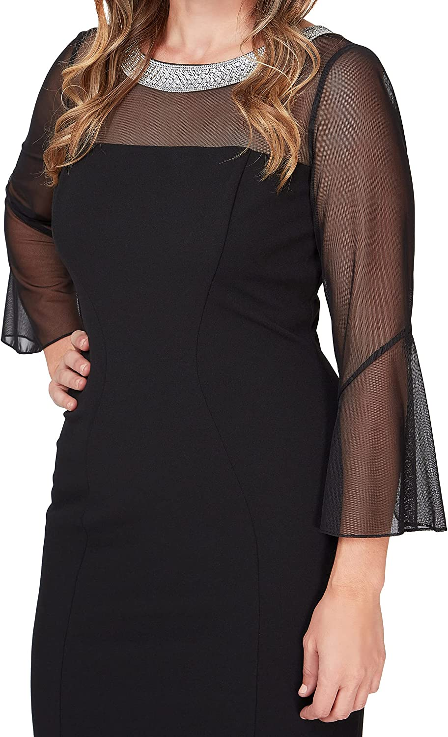 Alex Evenings Women's Plus Size Short Shift Dress with Embellished Illusion Detail