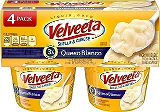 Velveeta Queso Blanco Shells & Cheese Microwaveable Cups (2.39 oz Cups, Pack of 4)